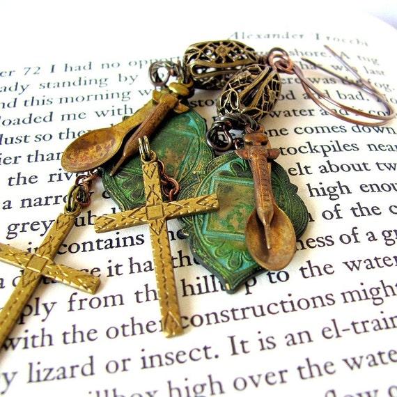 ALEXANDER TROCCHI Public Junkie Priez Pour Nous unusual unique earrings Leonard Cohen poem heroin literature jewelry unique jewelry