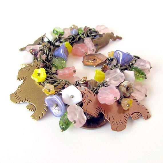 "Dog bracelet ""Summer Mischief"" Scottie Westie dog lovers gift dog charm bracelet dog jewelry Rescue Donation"