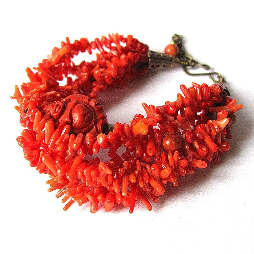 Red Buddha Bracelet Red Coral Jewelry Unique Jewelry Buddhist