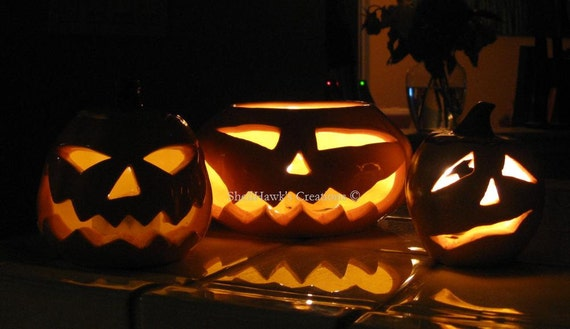 Halloween Jack o Lantern Pumpkin Orange Yellow Light Luminary Fall Autumn