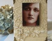 "Wedding Photo Frame, Handmade Frame, 5 x 7"" Frame, cream, ivory, for bride, bridesmaid gifts"