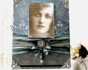 Wedding Photo Frame, Antique Style, blue and charcoal grey, artfully decorated picture frame for your photo