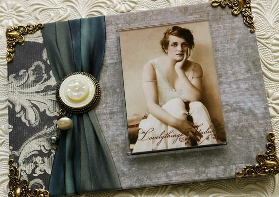 Фоторамка, Романтический стиль дома, ручной работы, серый, серый, перламутр, искусно украшенная рамка для фото