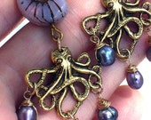Lilac Freshwater Pearl and Antique Gold Octopus Earrings