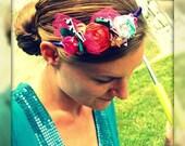 Make Believe, Aqua Blue, Bright Orange, Hot Pink Rosettes on Purple Satin Headband