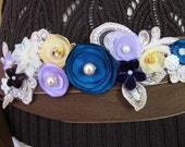 Forget Me Not Ribbon Tie Belt, Chocolate Brown Linen, Teal, ButterCream and Purple Taffeta, Chiffon and Pearls