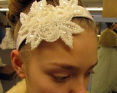Small glass seed bead bridal applique on satin headband