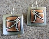 Mixed Metal square scroll earrings, Regina Marie Designs, copper, sterling