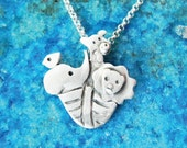 Noah ark necklace in sterling silver - animal necklace - elephant bird lion giraffe