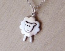 Sheep necklace pendant in sterling silver -Easter gift - spring necklace April jewelry