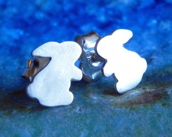 Really tiny rabbit studs in sterling silvered Easter bunny studs Easter gift for her for mom