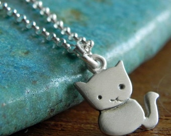 Cat sterling silver necklace pendant  Halloween jewelry cute animal teen jewelry kitty necklace