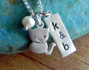 Personalized cute kitty cat necklace with pearl and tag for couples anniversary gift Valentine gift