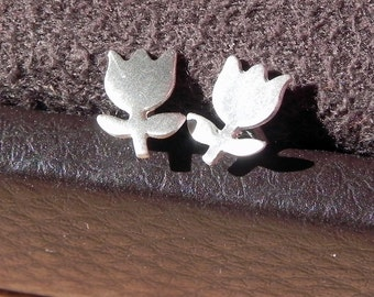 Really tiny flower studs in sterling silver cute Easter studs gift for girl tulip studs