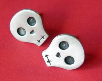Halloween Skull earring studs in sterling silver gift for her for girl