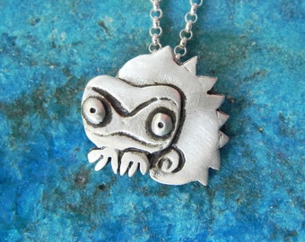 Dragon/ Lizard / Gecko / Chameleon necklace in sterling silver - animal necklace