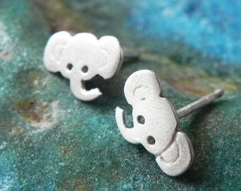 Really tiny elephant studs in sterling silver cute animal earring post studs gift for little girl