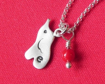 Personalized cute elephant necklace in sterling silver with birth stone and monogram