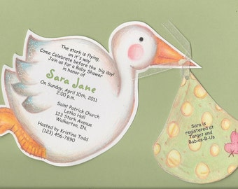 Personalized and Handcut Invitations - Baby Shower Party Invitations - Stork Invitation - Set of 50