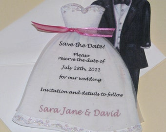 Personalized and Handcut Cards - Save the Date Cards - Bridal Dress and Tux Cards - Set of 10