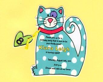 Personalized - Cat - Kitty - Children - Birthday - Party - Invitations - Sara Jane - Set of 10