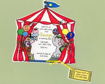 Personalized - Circus - Birthday - Party - Invitations - Carnival Birthday - Hancut - Sara Jane - Set of 7