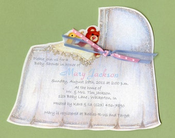 Personalized - Baby Shower - Invitations - Bassinet - Baby Invite - Baby Cradle - Announcement - Shower Invitation - Sara Jane - Set of 10
