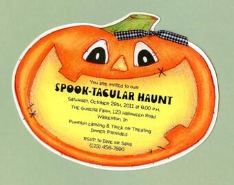 Personalized Invitations - Handcut - Halloween - Party Invitations - Halloween Birthday - Birthday Party - Pumpkin Invite - Set of 10