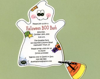 Personalized and Handcut Invitations - Halloween Birthday Party Invitations - Candy Corn Ghost Halloween Invitations - Set of 10