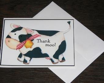 25 Cute Baby Cow Thank You Cards Original Artwork by Sara Jane