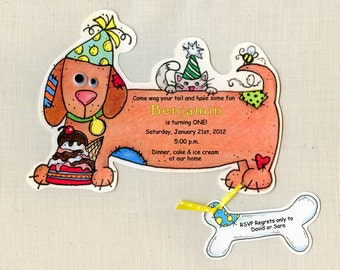 Personalized Invitations - Dog Birthday Party - Dachshund - Weiner Dog - Birthday Invitations - Dog Invitations - Set of 25