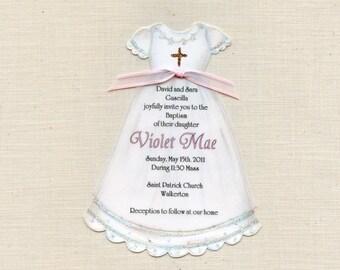 Dress - Baptism - Communion - Christening - Girl - Invitations - Personalized - Handcut - Religious - Church - Sara Jane - Set of 50