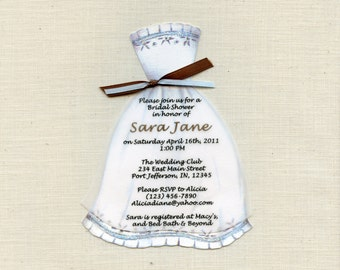 Personalized and Handcut Invitations - Bridal Shower Party Invitations - Bridal Dress Invitations - Set of 40