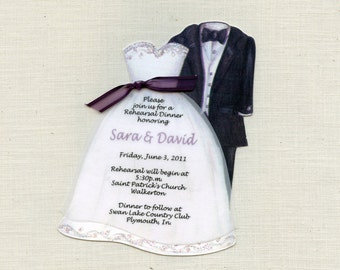 Personalized and Handcut - Party Invitations - Wedding Rehearsal - Bridal Dress Invitations - Tux Invitations - Set of 10