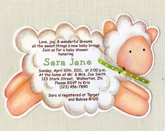 Personalized - Baby Lamb Invitation - Lamb - Baby Shower - Handcut Invitations - Baby Shower Party Invitations  - Set of 35