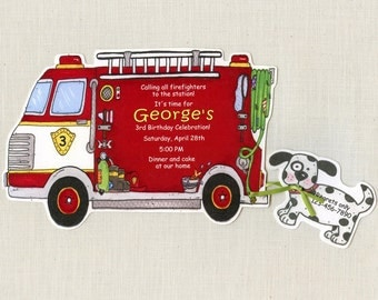 15 Fire Truck Boy Birthday Party Invitations | Personalized | Firefighter | Fireman Birthday Party | 5x7 Birthday Invitation | Red Truck