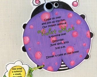 10 Purple Lady Bug Birthday Party Invitations - Handcut & Personalized