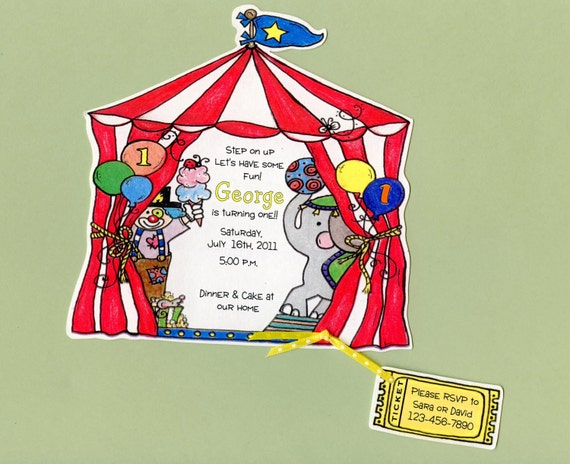 Reserved 5 Circus Birthday Party Invitations - Handcut & Personalized