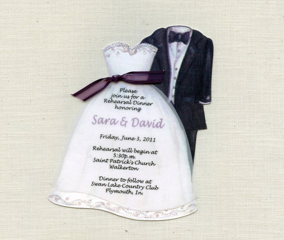 15 Bridal Dress and Tux Personalized Handcut Rehearsal Dinner Invitation by Sara Jane