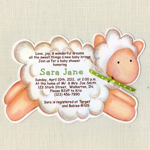 45 Lamb Baby Shower Invitations - Handcut and Personalized