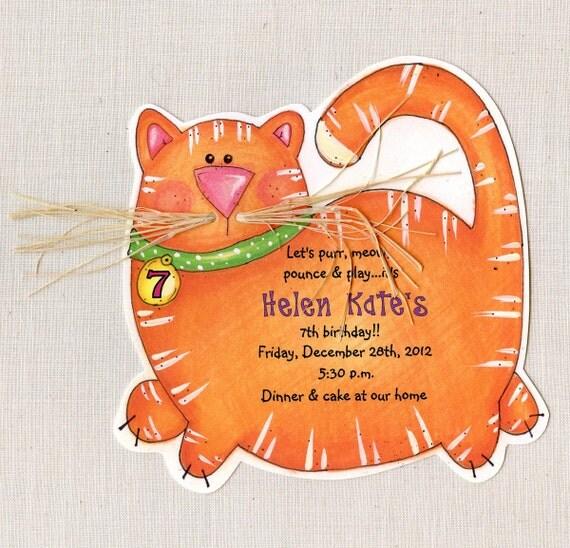 Birthday Orange Cat: 10 Orange Fat Cat Kitty Birthday Party Invitations Handcut