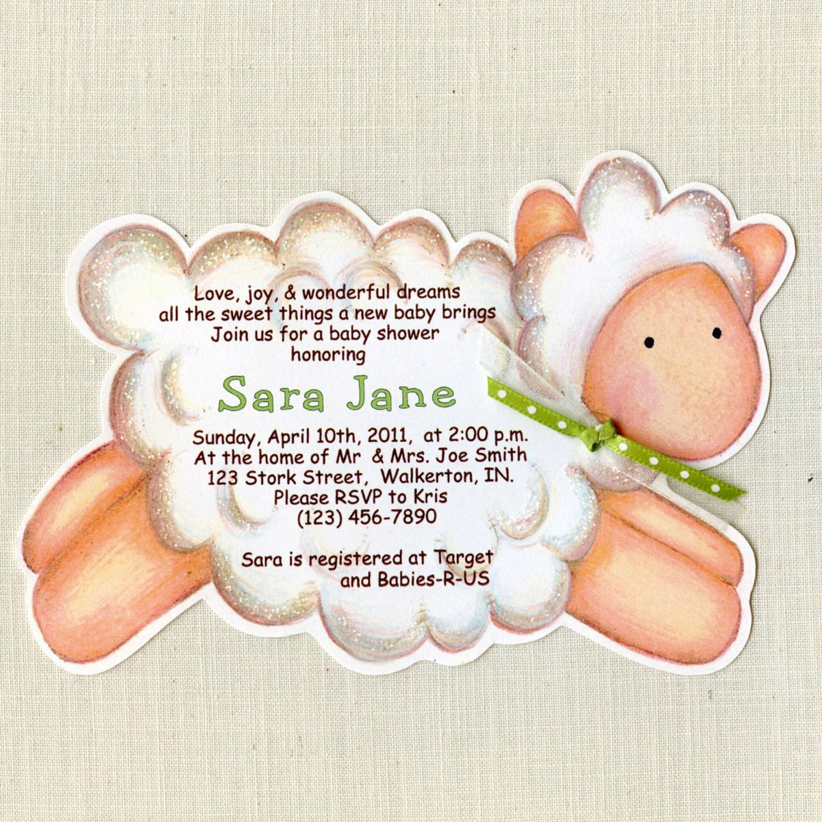 10 Lamb Baby Shower Invitation Baby Party Announcement