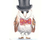 Original Owl Watercolor Painting - Top Hat, Bow Tie, Animal Illustration