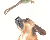 Original Dog Watercolor - Frog Painting, Animal Art