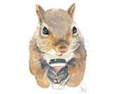Squirrel Watercolor Painting - Original Art, Coffee, Take Out Cup, Animal Illustration