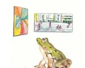 Original Frog Watercolor - Art Gallery, Animal Illustration, 8x10