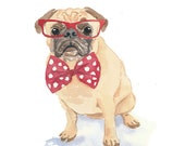 Dog Watercolor - Pug Watercolor, Red Glasses, Bow Tie, Original Painting