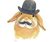 Original Rabbit Watercolor - Bunny Painting, Bowler Hat, Animal Art
