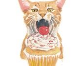 Cat Watercolor Illustration - Orange Tabby, Vanilla Cupcake, Original Painting, Big Bite