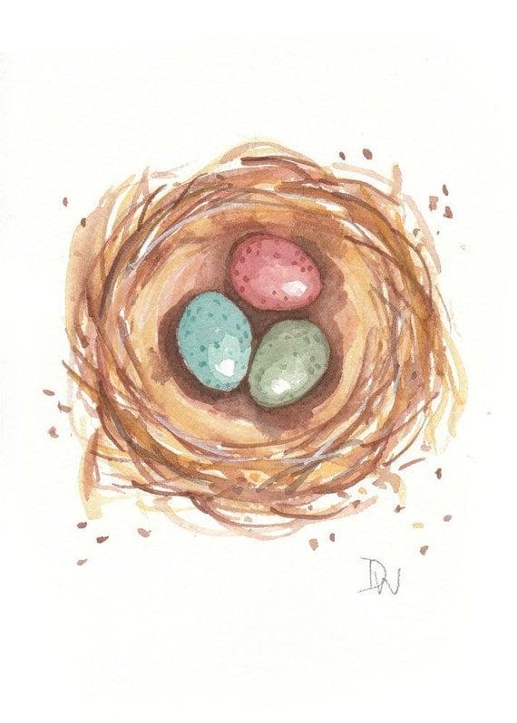 Birds Nest Watercolor - Original Painting, Colored Eggs, Nature Art, 5x7